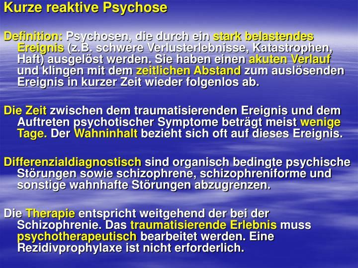Kurze reaktive Psychose