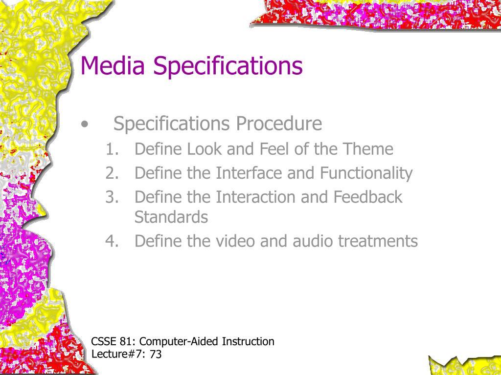 Media Specifications