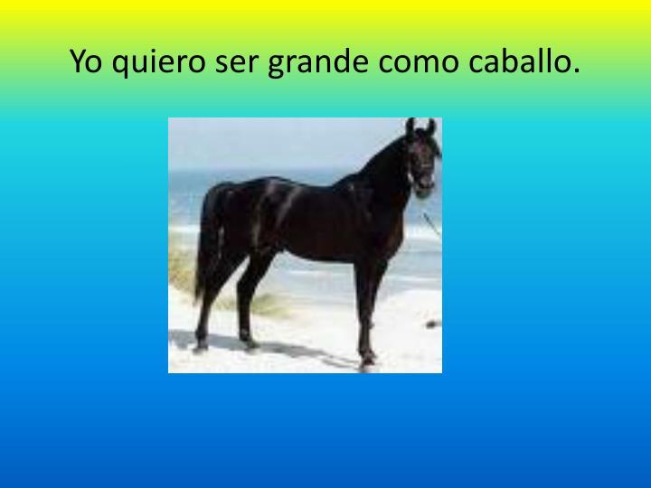 Yo quiero ser grande como caballo.