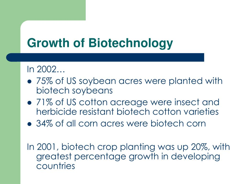 Growth of Biotechnology