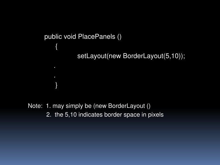 public void PlacePanels ()