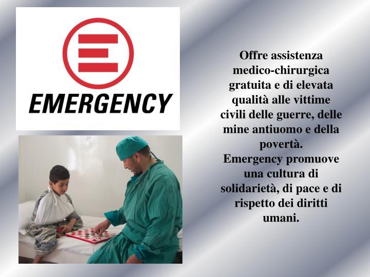 Offre assistenza medico-chirurgica gratuita e di elevata qualità alle vittime civili delle guerre, delle mine antiuomo e della povertà.