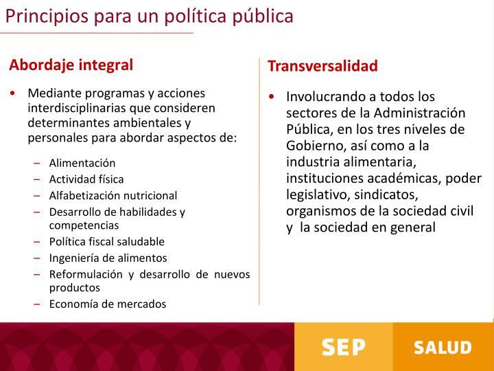 Principios para un política pública