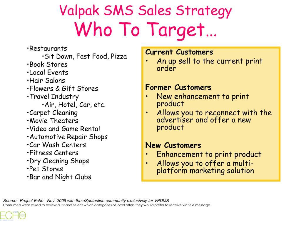 Valpak SMS Sales Strategy