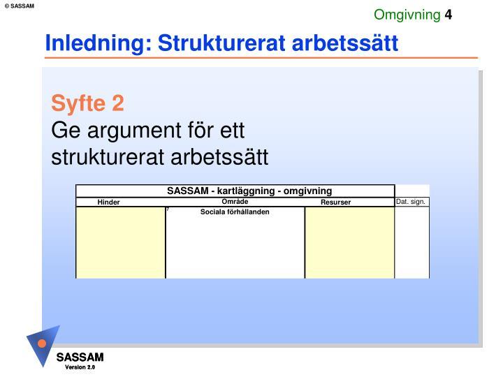 Inledning: Strukturerat arbetssätt