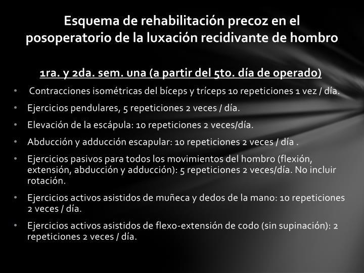 Esquema de rehabilitación precoz en el posoperatorio de la luxación recidivante de hombro