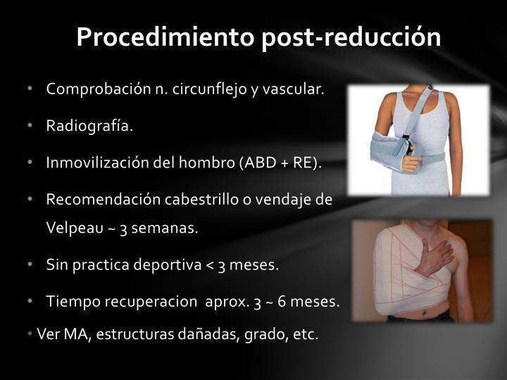 Procedimiento post-reducción