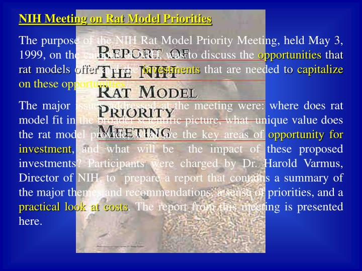NIH Meeting on Rat Model Priorities