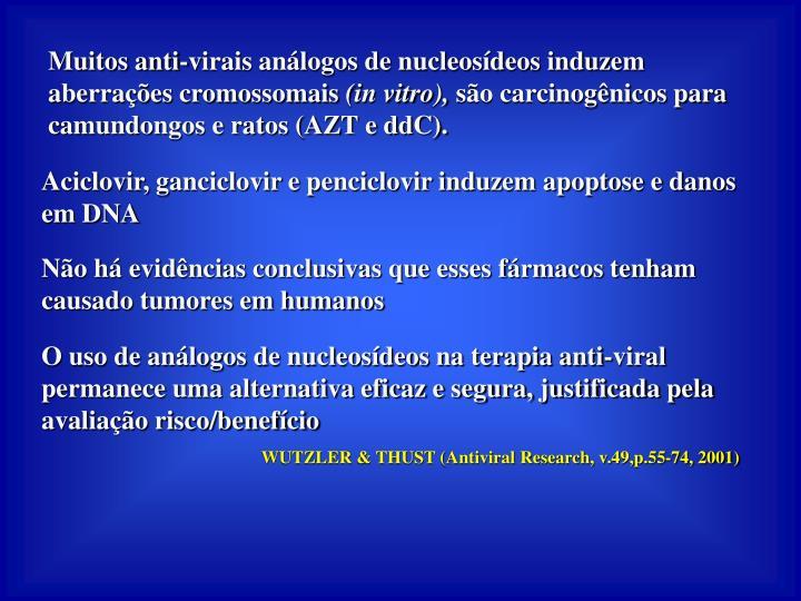 Muitos anti-virais análogos de nucleosídeos induzem aberrações cromossomais