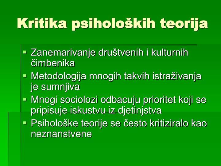 Kritika psiholoških teorija