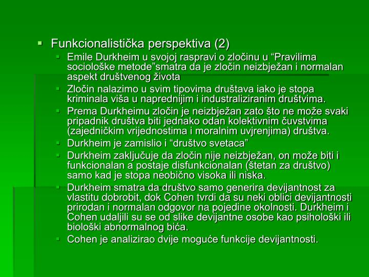 Funkcionalistička perspektiva (2)