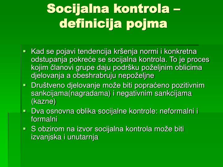 Socijalna kontrola – definicija pojma
