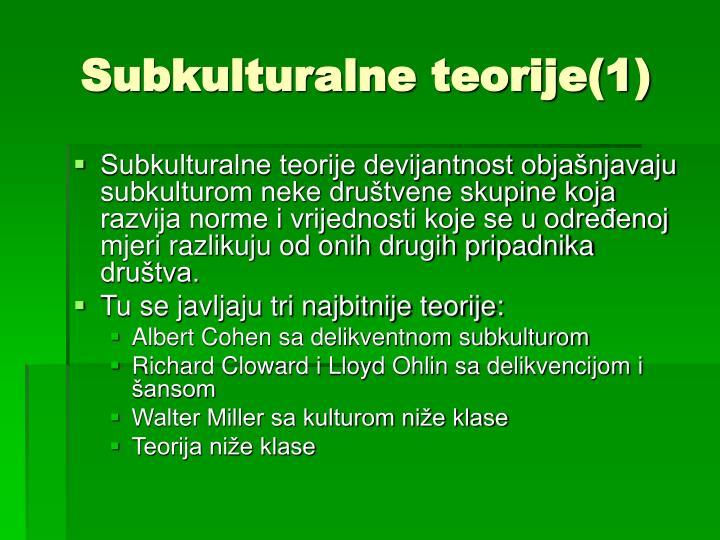 Subkulturalne teorije(1)