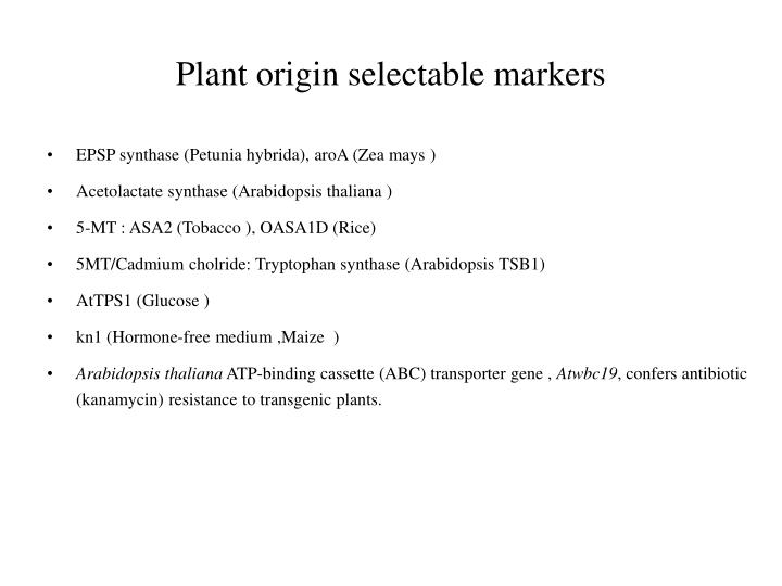 Plant origin selectable markers
