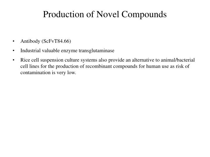 Production of Novel Compounds