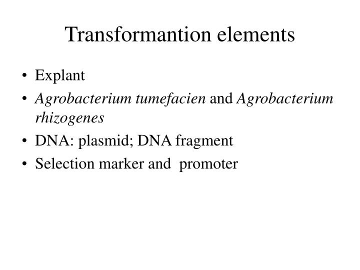 Transformantion elements