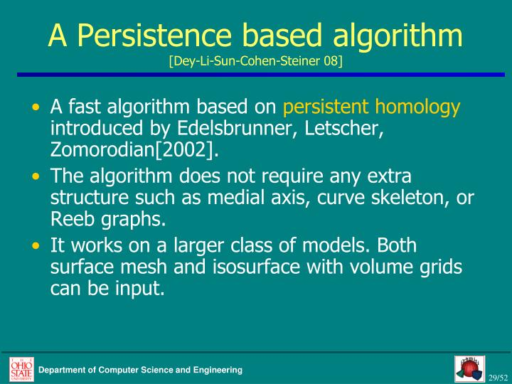 A Persistence based algorithm