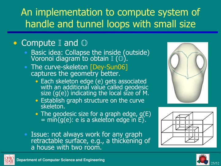 An implementation to compute system of handle and tunnel loops with small size