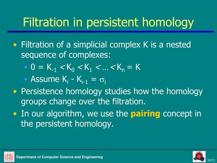 Filtration in persistent homology