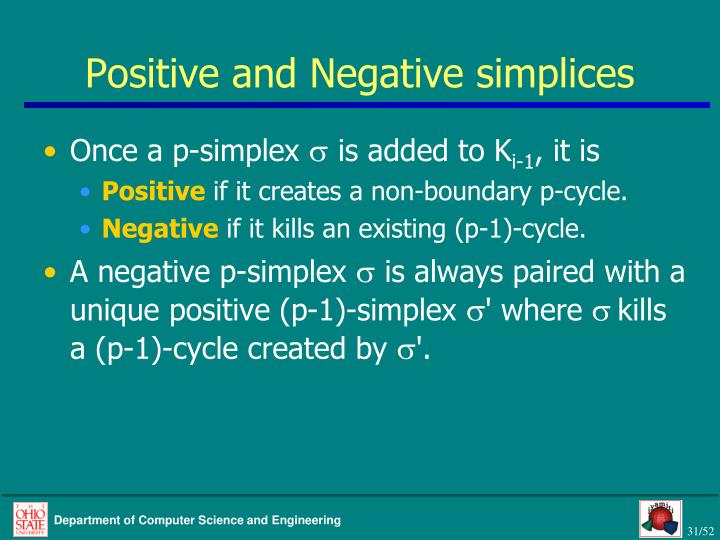 Positive and Negative simplices