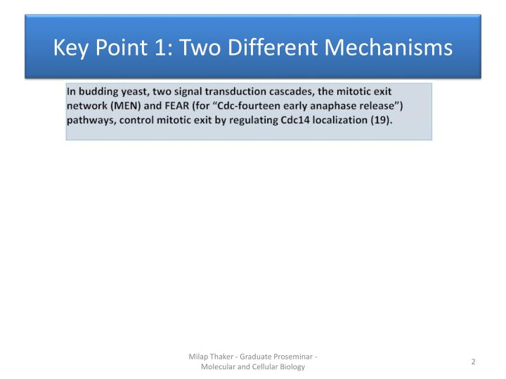 Key point 1 two different mechanisms