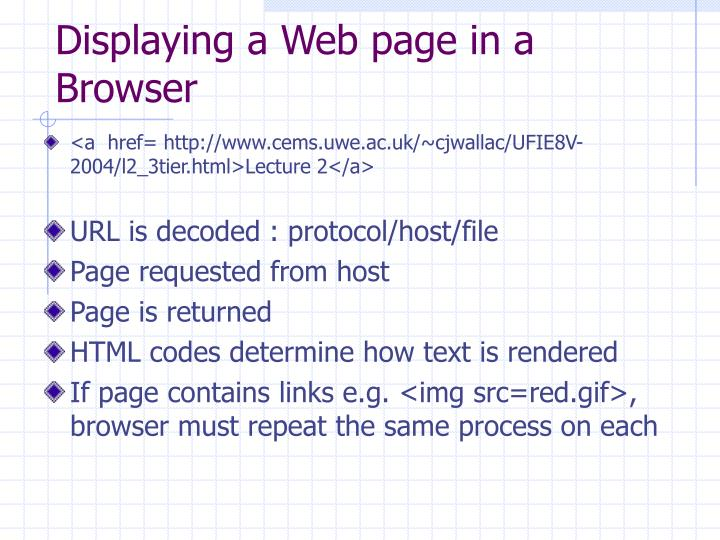 Displaying a Web page in a Browser