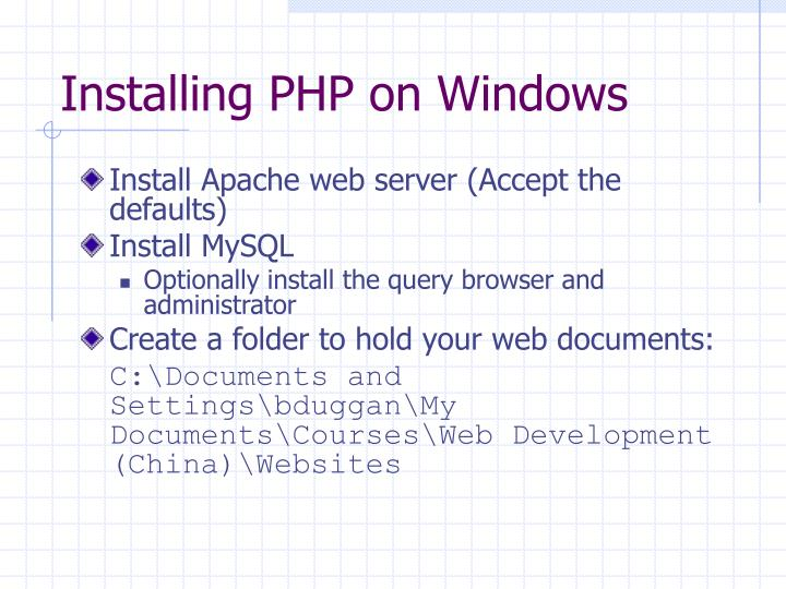 Installing PHP on Windows