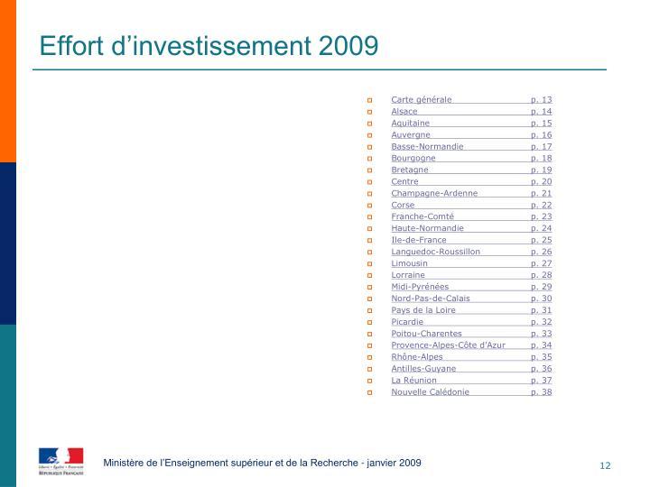Effort d'investissement 2009