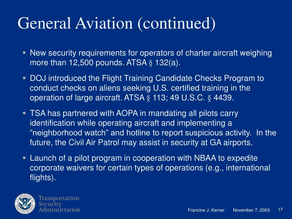 General Aviation (continued)