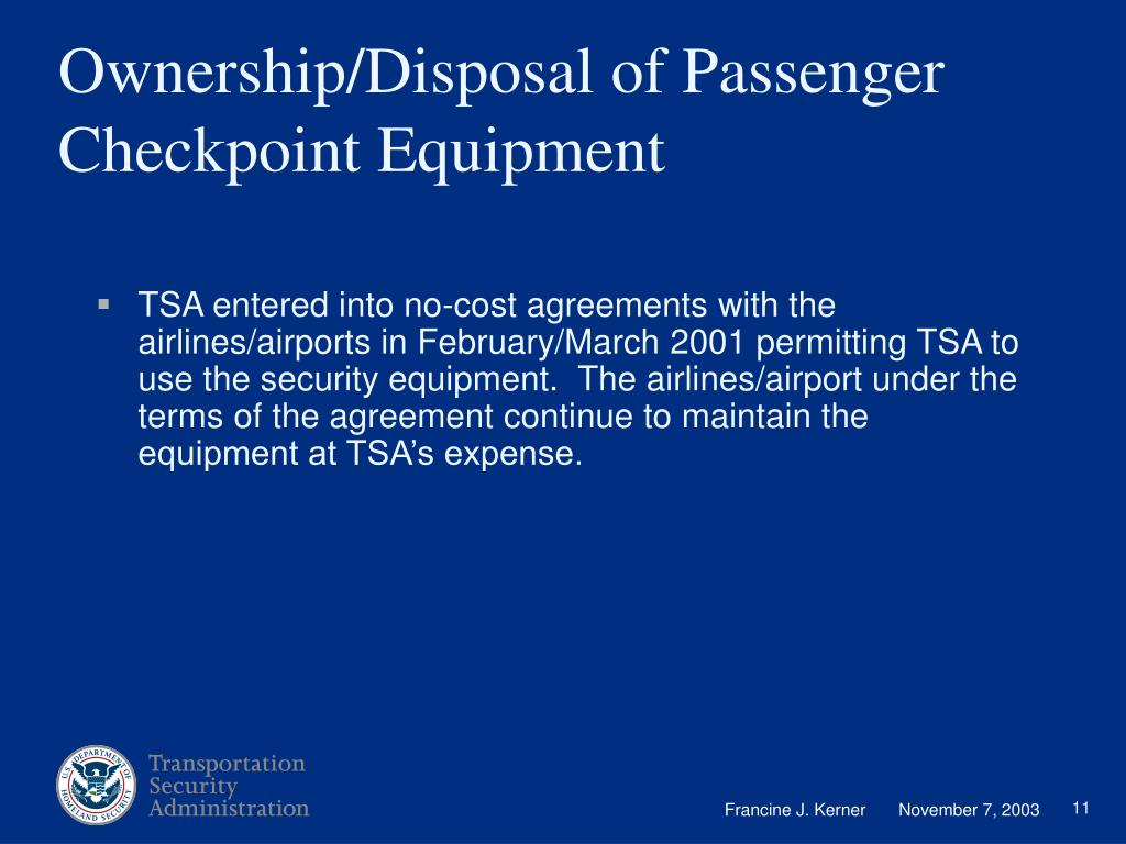 Ownership/Disposal of Passenger Checkpoint Equipment