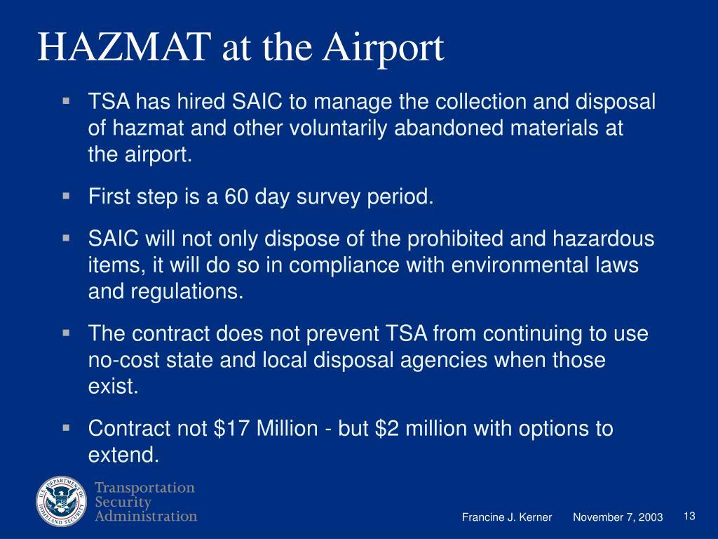 HAZMAT at the Airport