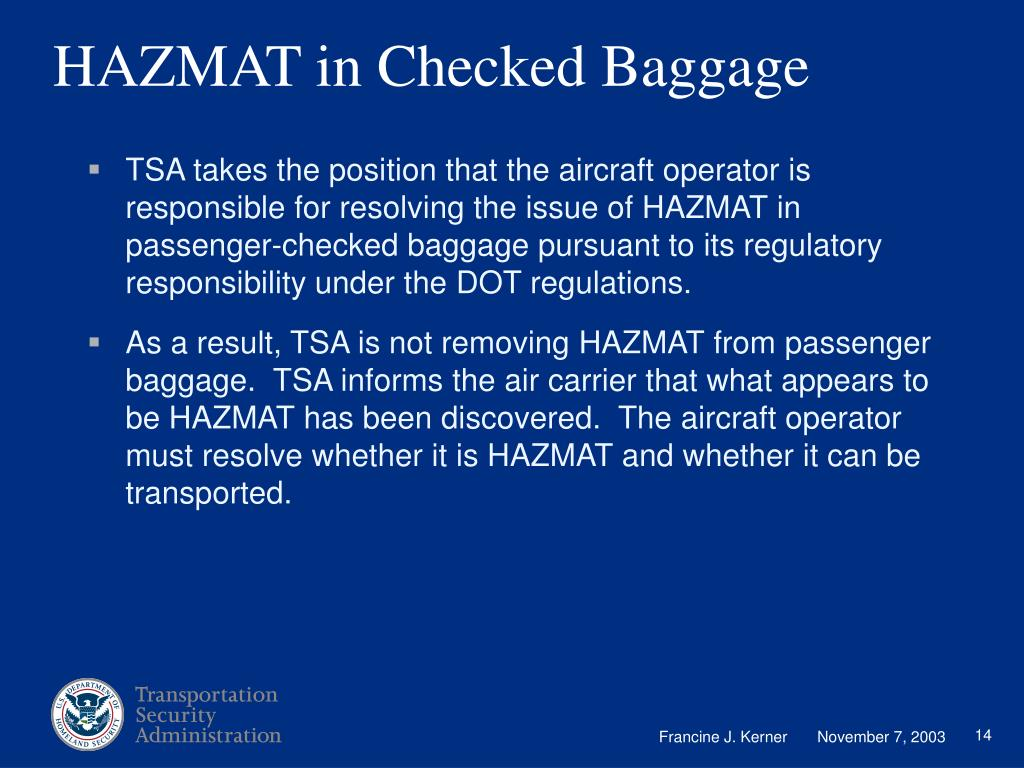 HAZMAT in Checked Baggage