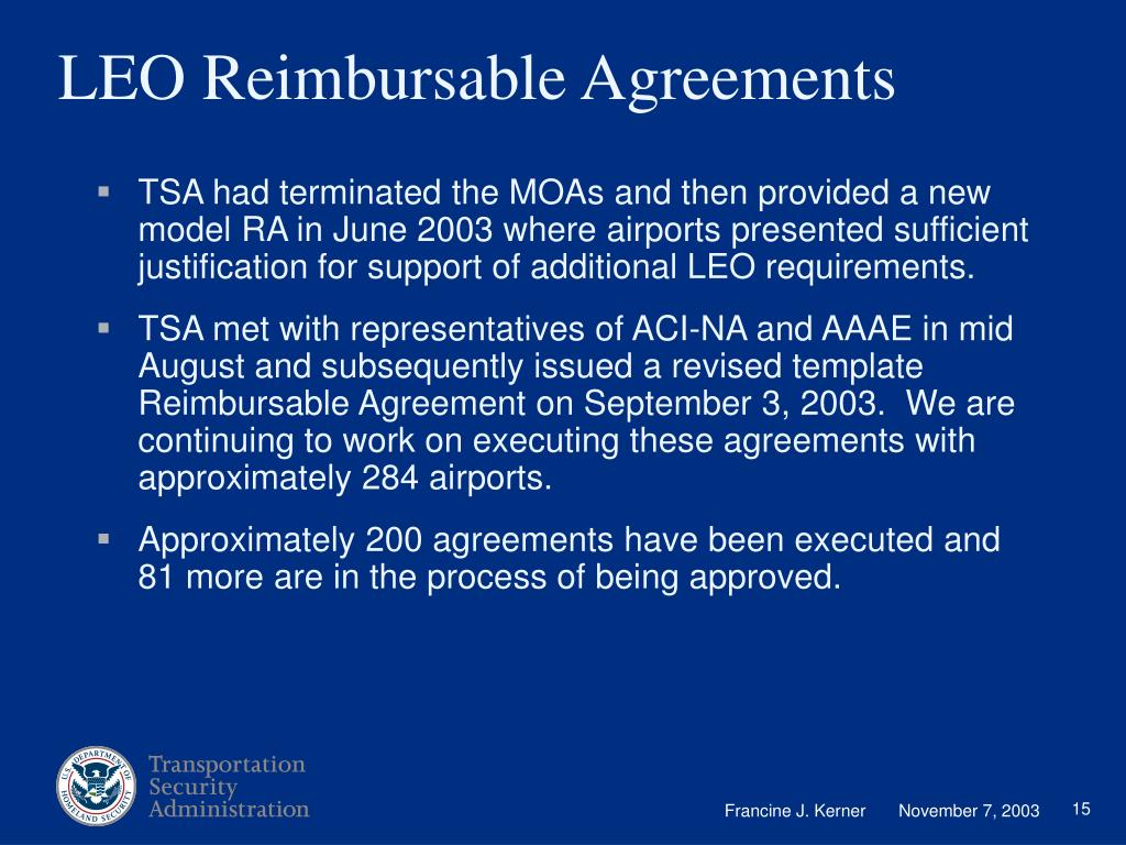 LEO Reimbursable Agreements