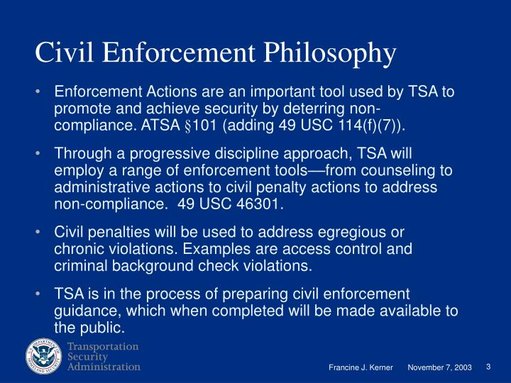 Civil Enforcement Philosophy