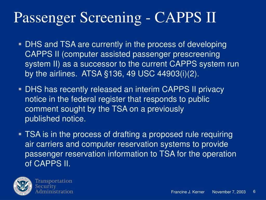 Passenger Screening - CAPPS II