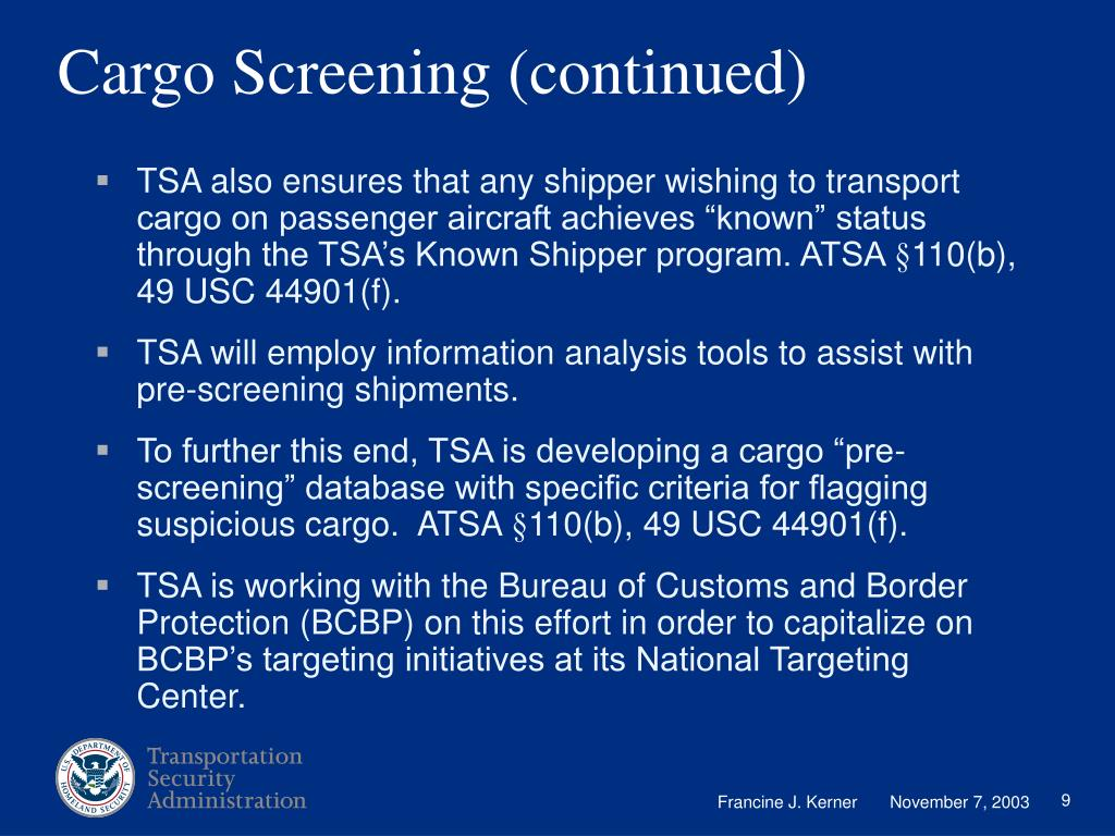 Cargo Screening (continued)