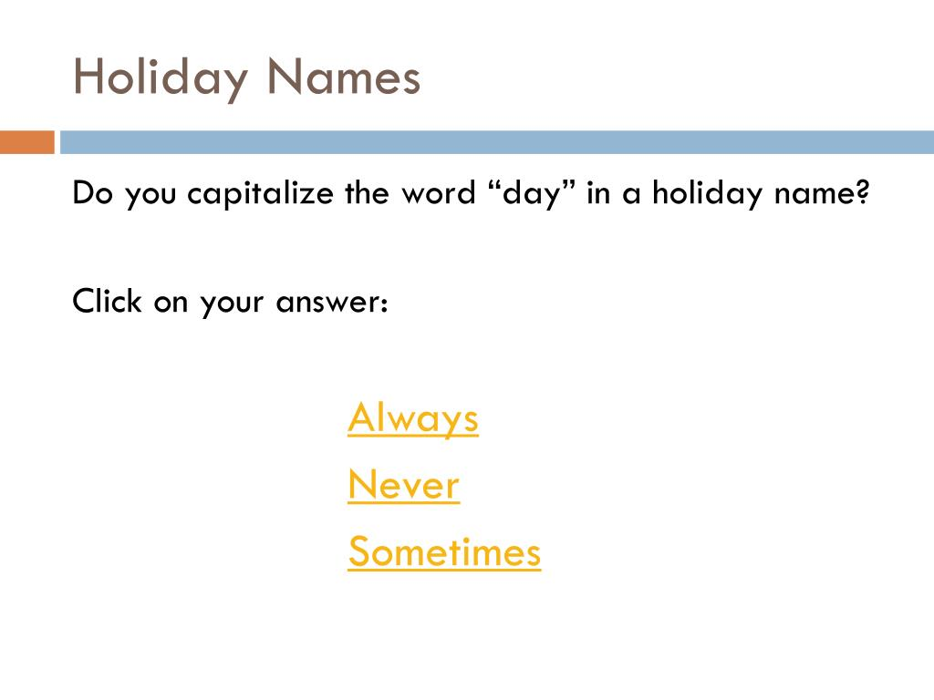 Holiday Names