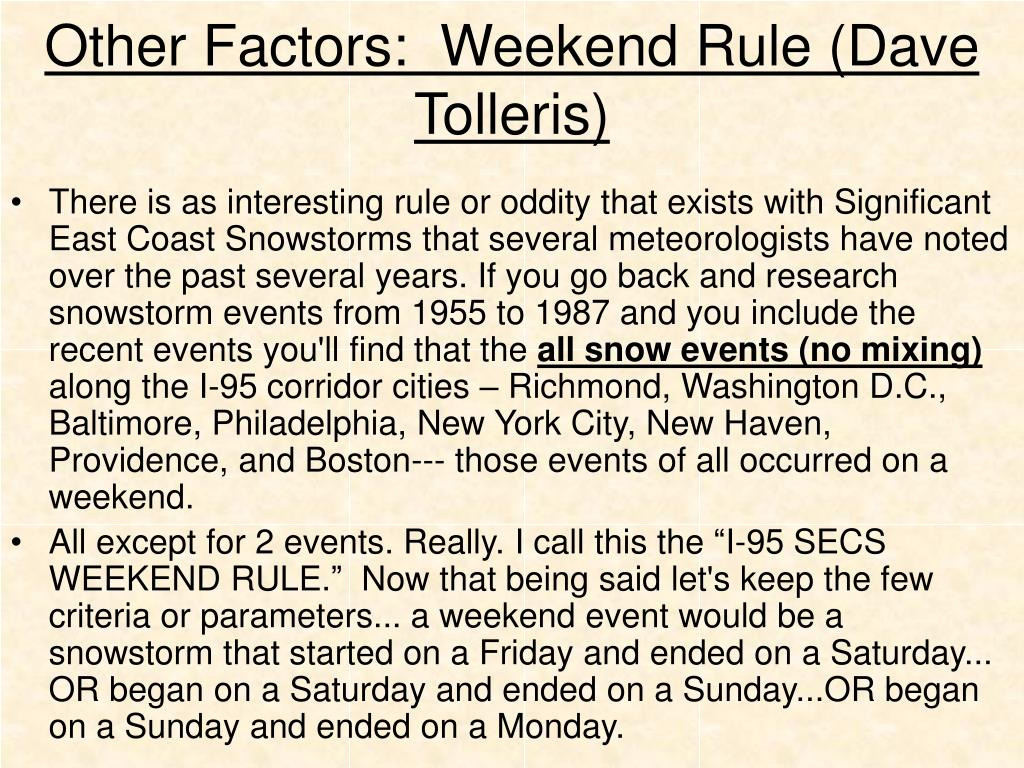 Other Factors:  Weekend Rule (Dave Tolleris)