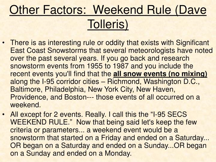 Other factors weekend rule dave tolleris