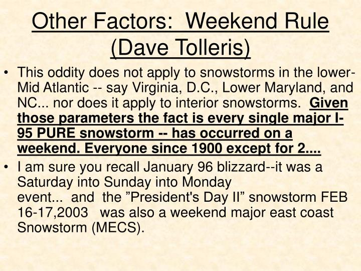 Other factors weekend rule dave tolleris2