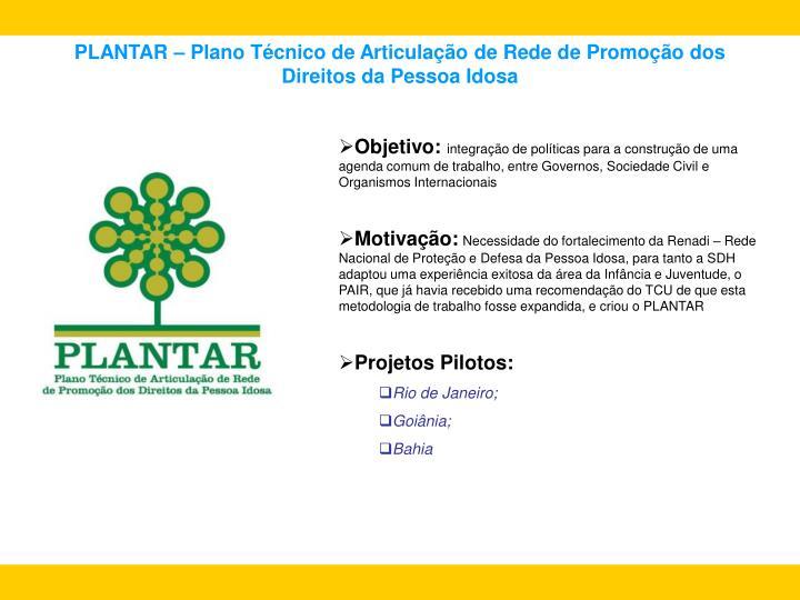 PLANTAR – Plano Técnico de Articulação de Rede de Promoção dos                      Direitos da Pessoa Idosa
