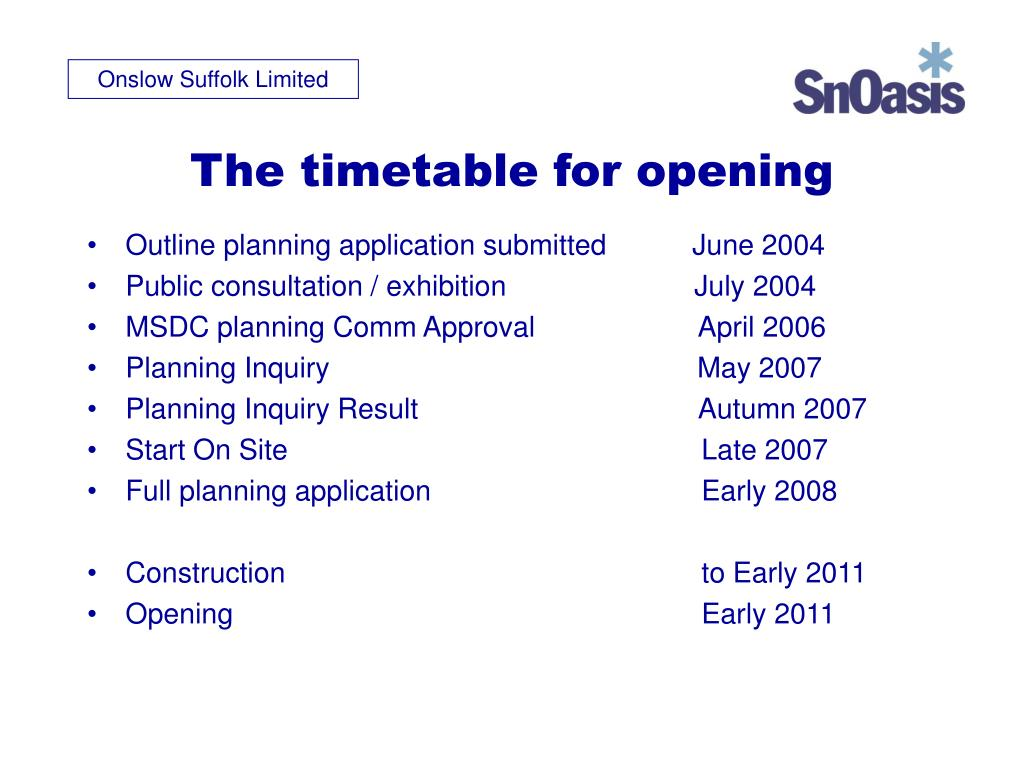 The timetable for opening