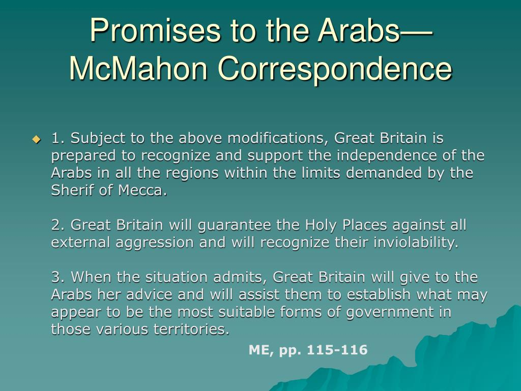Promises to the Arabs—McMahon Correspondence