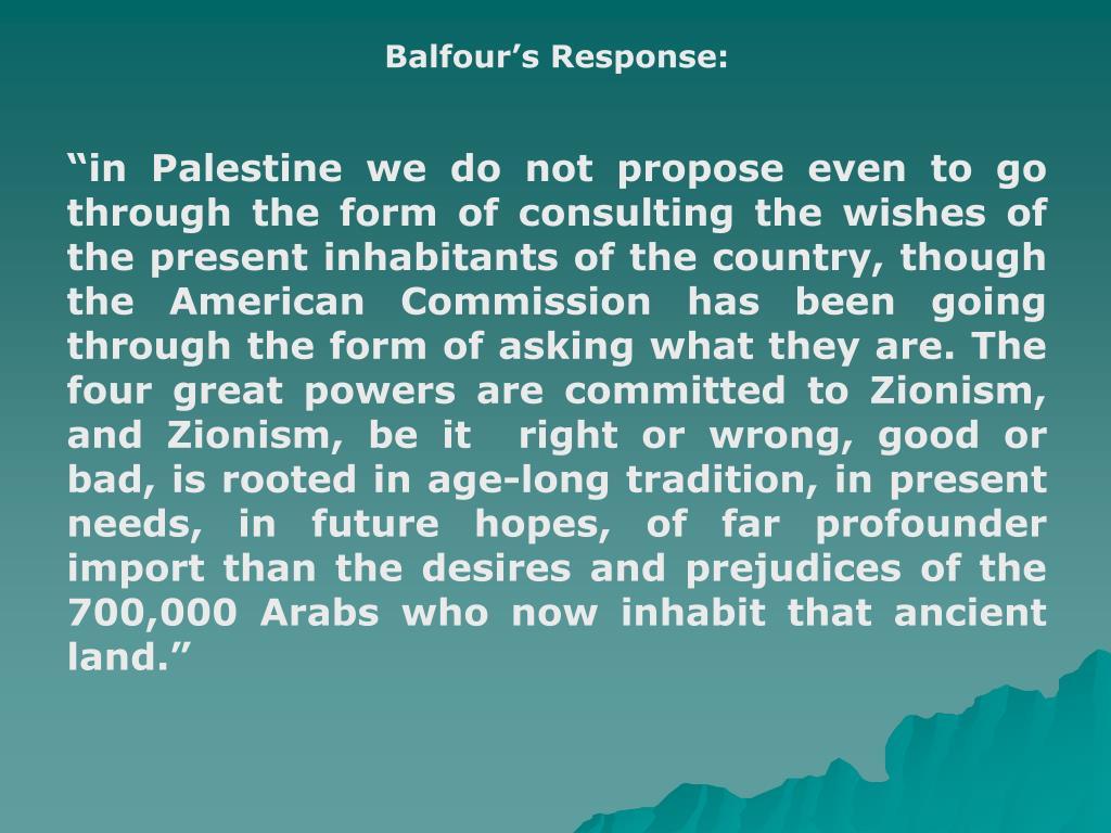 Balfour's Response: