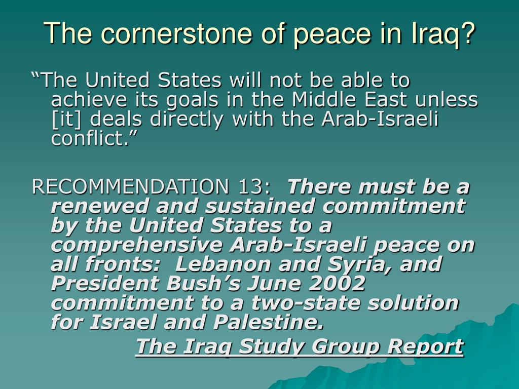 The cornerstone of peace in Iraq?