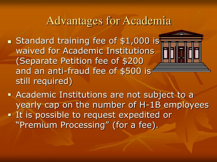Advantages for Academia