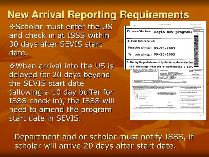 New Arrival Reporting Requirements