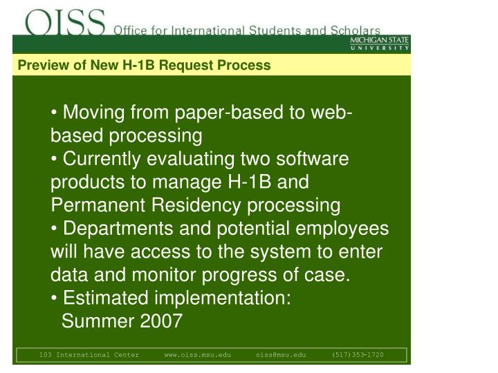 Preview of New H-1B Request Process