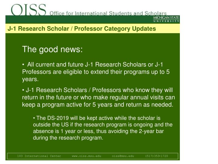 J-1 Research Scholar / Professor Category Updates