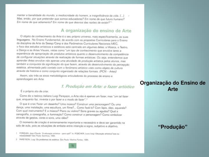 Organização do Ensino de Arte